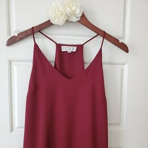 Pink Rose strappy blouse in burgundy.
